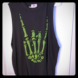 UNIF muscle tank - rock skeleton hand